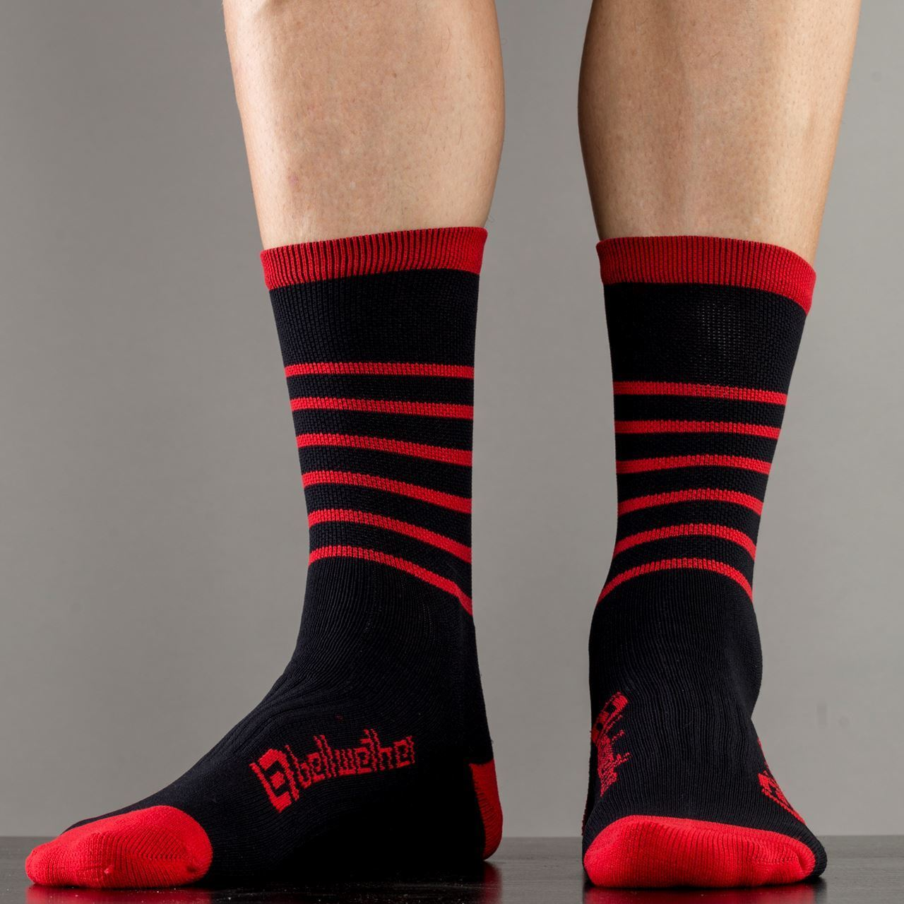 Picture of BELLWETHER BLITZ SOCK BLACK/FERRARI